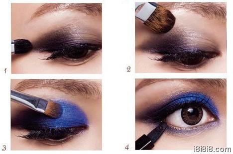 小烟熏妆的画法step1 深蓝色眼影霜打底